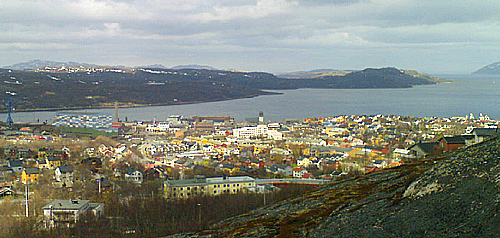 Kirkenes seen towards the north, from Prestefjellet. Photo Urban Wr�kberg